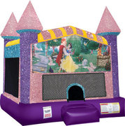 Snow White Inflatable moonwalk with basketball goal pink