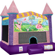 Spongebob Inflatable bounce house with Basketball Goal Pink
