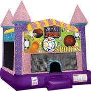Sports Inflatable bounce house with Basketball Goal Pink