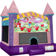 Strawberry Shortcake Inflatable bounce house with basketball goal pink