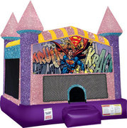 Superman Inflatable bounce house with Basketball Goal Pink