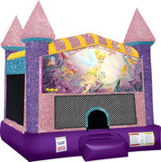 Tinkerbell Inflatable bounce house with Basketball Goal Pink