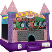 Train Inflatable moonwalk with basketball goal pink