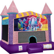 Trolls Inflatable Bounce house with Basketball Goal Pink