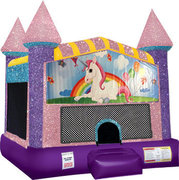 Unicorn Bounce house with Basketball Goal (pink)