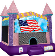 Patriotic Inflatable bounce house with Basketball Goal Pink