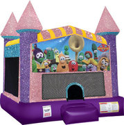 Veggie Tales Inflatable Bounce house with Basketball Goal Pink