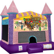 Western Inflatable moonwalk with basketball goal pink