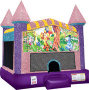 Winnie the Pooh Inflatable bounce house with Basketball Goal Pink