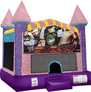 Wrestling Inflatable Bounce house with Basketball Goal Pink