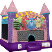 Yo gabba gabba Inflatable moonwalk with basketball goal pink