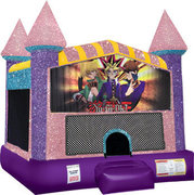 Yu-Gi-Oh Inflatable moonwalk with basketball goal pink