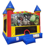 Zombies vs Plants Inflatable bounce house with Basketball Goal