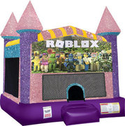 Roblox Inflatable bounce house with Basketball Goal Pink