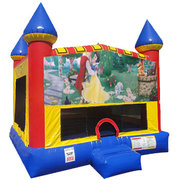 Snow White Inflatable moonwalk with basketball goal