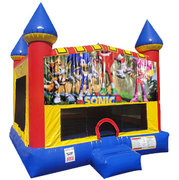 Sonic Bounce house with Basketball Goal