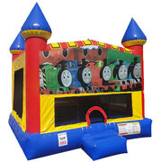 Train Inflatable bounce house with Basketball Goal