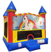 Unicorn Bounce house with Basketball Goal