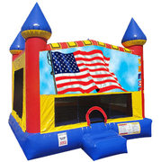 Patriotic Inflatable moonwalk with basketball goal
