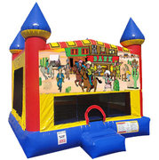 Western Inflatable bounce house with Basketball Goal