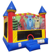Yo Gabba Gabba bounce house with Basketball Goal