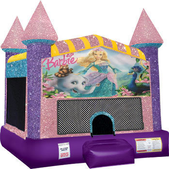 Barbie Inflatable bounce house with Basketball Goal Pink