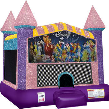 World of Disney bounce house with Basketball Goal Pink