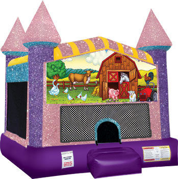My Little Farm bounce house with Basketball Goal Pink