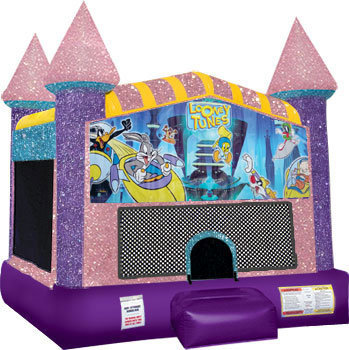Looney Tunes Inflatable bounce house with Basketball Goal Pink