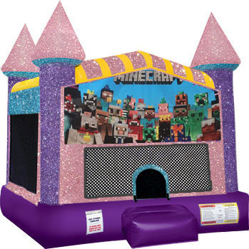 Minecraft bounce house with basketball goal(Pink)