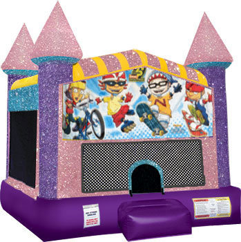 Rocket Power Inflatable bounce house with Basketball Goal Pink