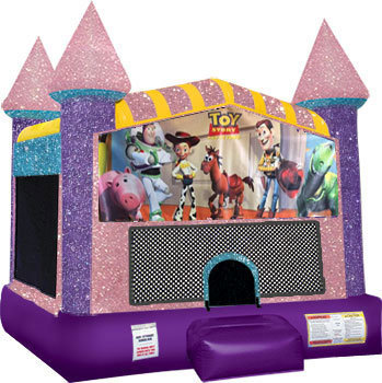 Toy Story Inflatable bounce house with basketball goal pink