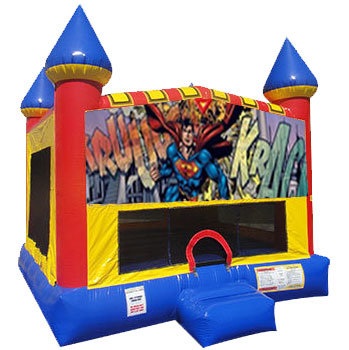 Superman Inflatable bounce house with basketball goal
