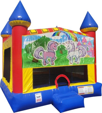 Unicorn Friends Inflatable bounce house with Basketball Goal
