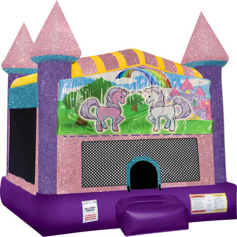 Unicorn Friends Inflatable bounce house with Basketball Goal Pink
