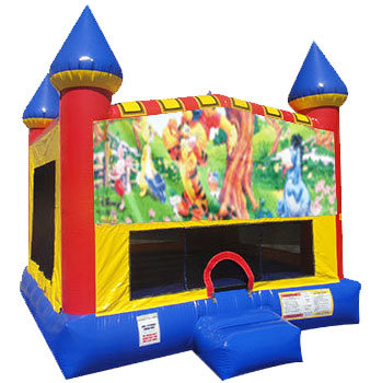Winnie the Pooh Inflatable bounce house with Basketball Goal