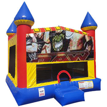 Wrestling bounce house with Basketball Goal