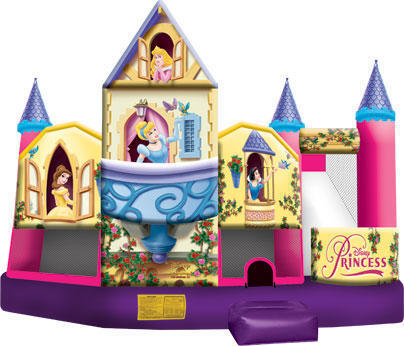 5in1 Princess Bounce Houses Dry Slide Combo