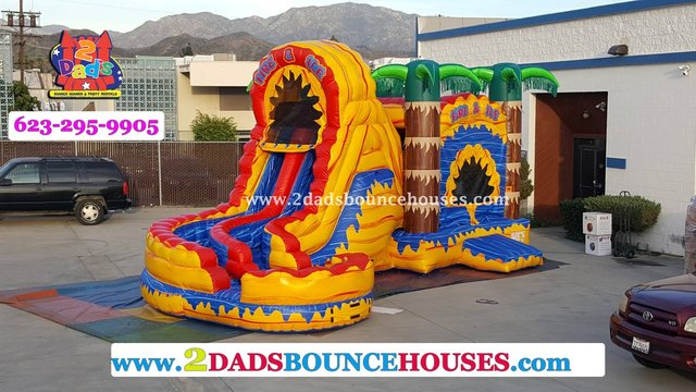 Fire and Ice Dual Lane Water Slide Combo
