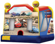 Cars bounce house slide combo with hoop