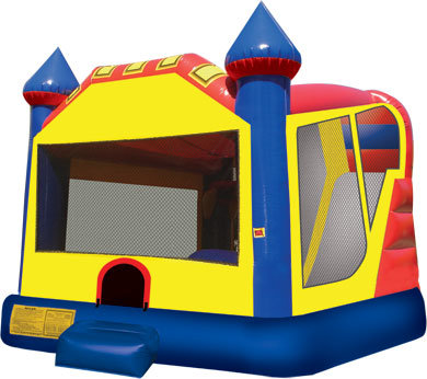 Yellow 4in1 Bounce House Slide Combo with hoop