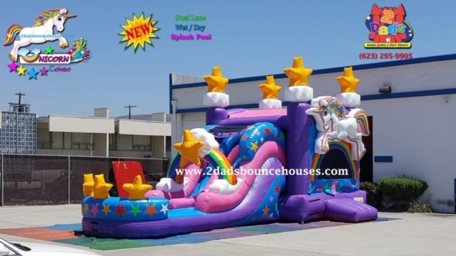 Unicorn Dual Lane Water Slide Combo