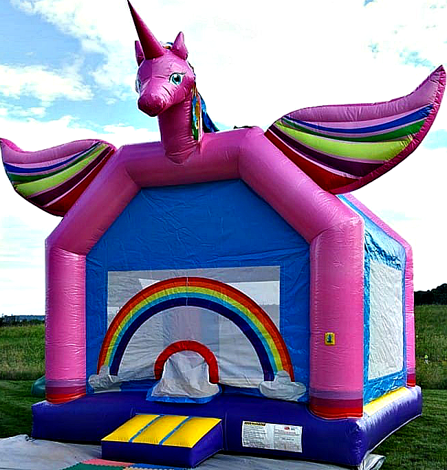 Unicorn Bounce House Front View