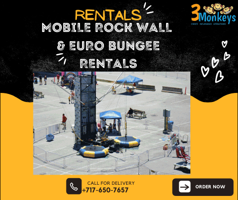 Mobile Rock Wall & Euro Bungee for Rent York near me