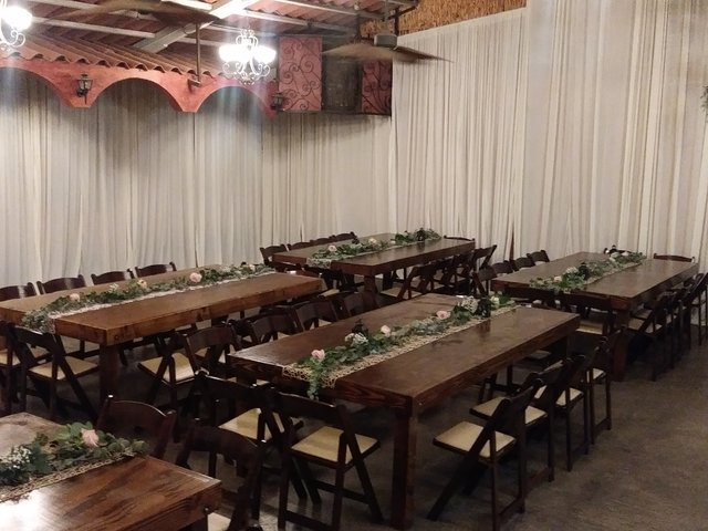 Farm table 48'' wide x 96'' long (seats 10 to 12 people)
