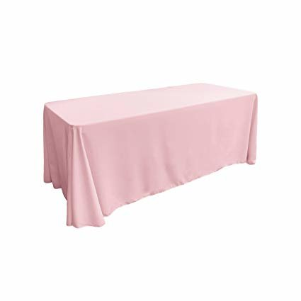 blush pink rectangular floor linen for 8ft