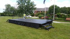 8x88 stage with railing and skirt