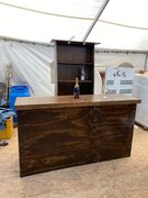 RUSTIC BAR WITH BACK CABINET