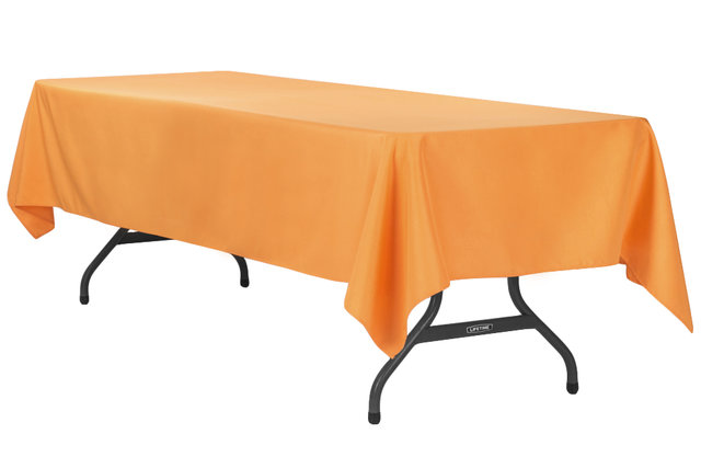 orange rectangular halfway linen for 6 ft