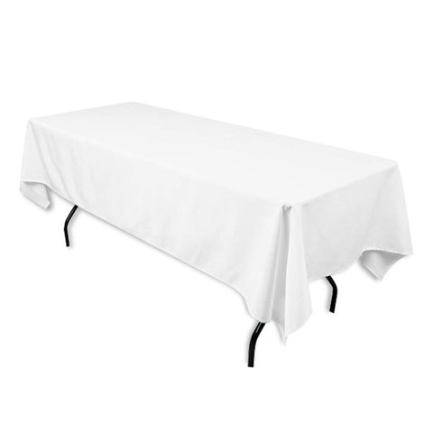 white rectangular halfway linen for 6ft and 8ft